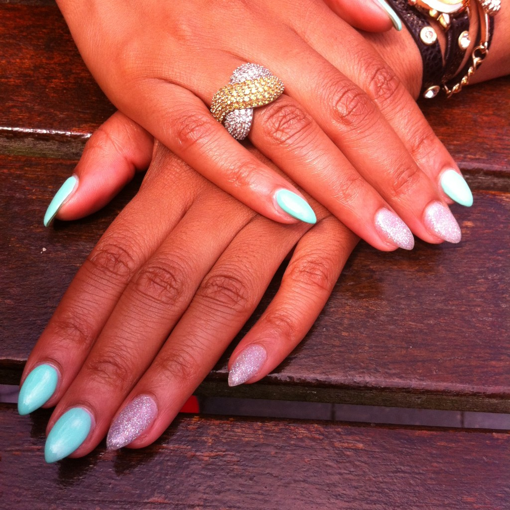 mint green silver nails